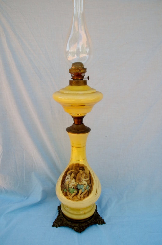 Oil lamp shade antique glass hanging lamps antique hanging oil lamps - French Oil Lamp