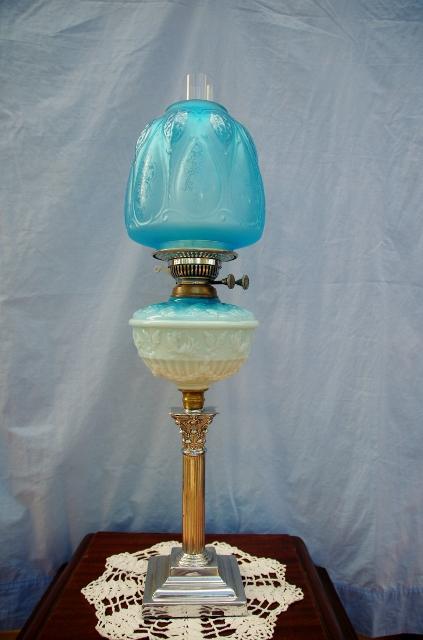 Victorian Blue Milk Glass Kero Oil Lamp